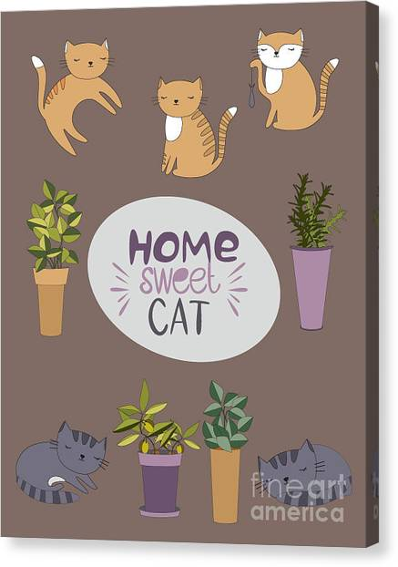Concept Canvas Print - Home Sweet Cat by Mio Buono