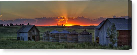 Beauty Mark Canvas Print - Home Town Sunset Panorama by Mark Kiver
