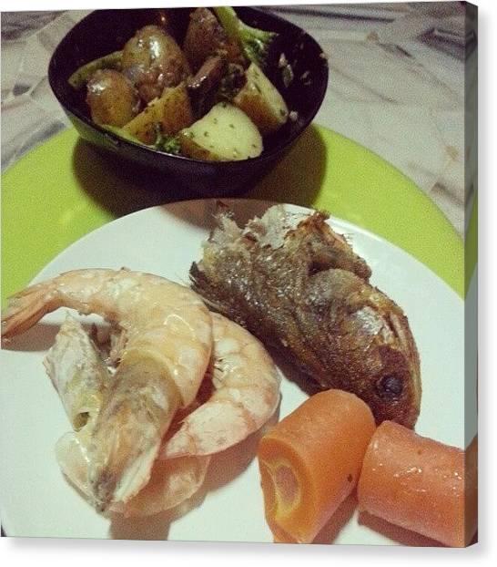 Potato Canvas Print - #homecook!!! #dinner #fishhead #prawn by Jive Soo