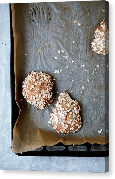 Buns Canvas Print - Homemade Buns With Oats by Line Klein