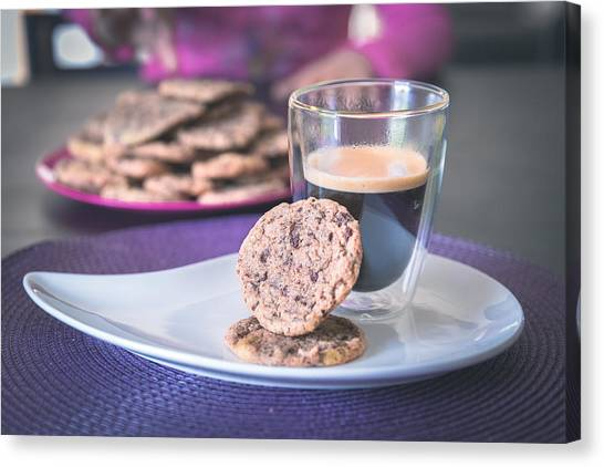 Homemade Chocolate Cookies With A Hot Black Coffee Canvas Print by Robin-Angelo Photography