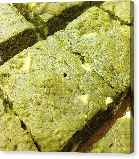 Sweet Tea Canvas Print - Homemade Matcha Brownies by Vicky Hatata