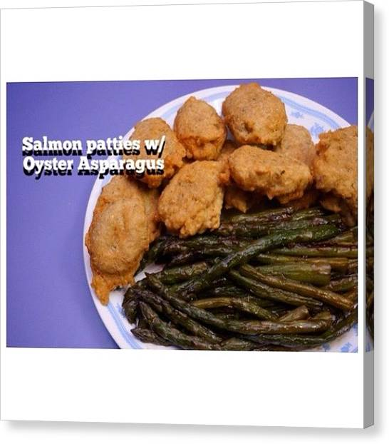 Asparagus Canvas Print - Homemade #salmon Patties W/ Oyster by Zyrus Zarate