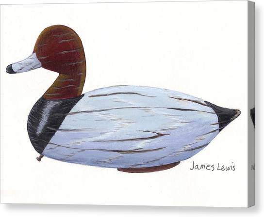 James Lewis Canvas Print - Homerfulcher Red Head Decoy by James Lewis