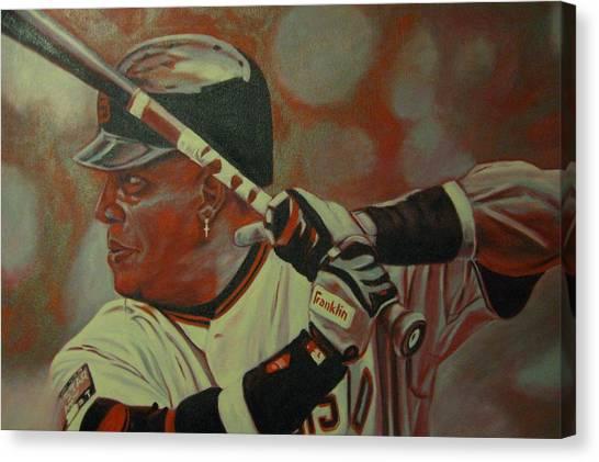 Barry Bonds Canvas Print - Homerun King by Paul Smutylo