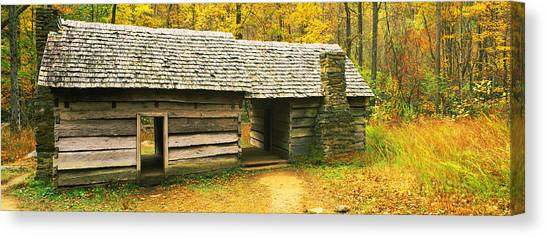 Log Cabin Canvas Print - Homestead Log Cabin In A Forest, Great by Panoramic Images