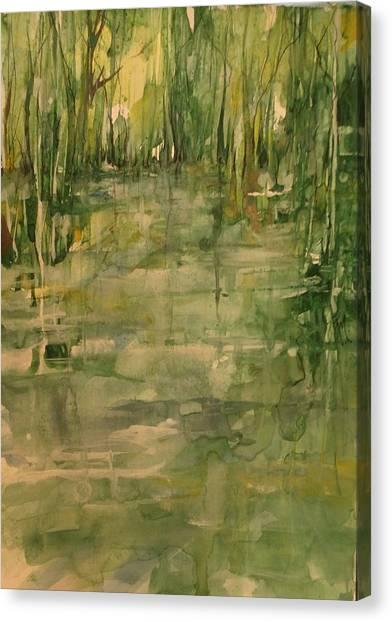 Honey Island Swamp In Green Canvas Print