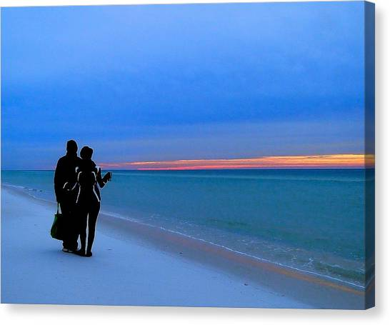 Honeymooners At Dawn On Pensacola Beach Canvas Print