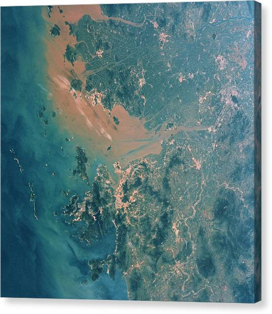 Space Shuttle Canvas Print - Hong Kong And Guangzhou by Nasa/science Photo Library