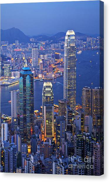 Hong Kong At Twilight Vertical Canvas Print
