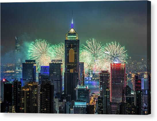 Chinese New Year Canvas Print - Hong Kong  Chinese New Year Fireworks by Coolbiere Photograph