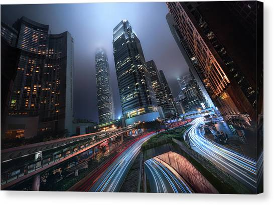 Hong Kong Canvas Print - Hong Kong City Lights by Jes?s M. Garc?a
