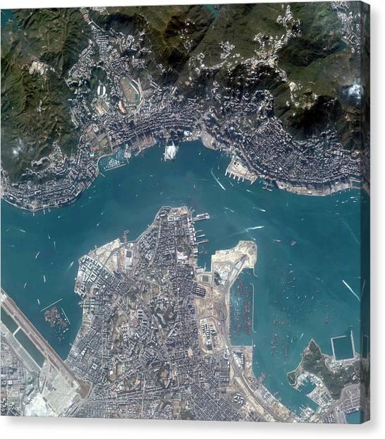 China Town Canvas Print - Hong Kong by Geoeye/science Photo Library