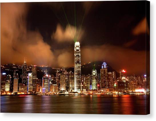 Hong Kong Harbor At Night Lightshow Canvas Print by William Perry