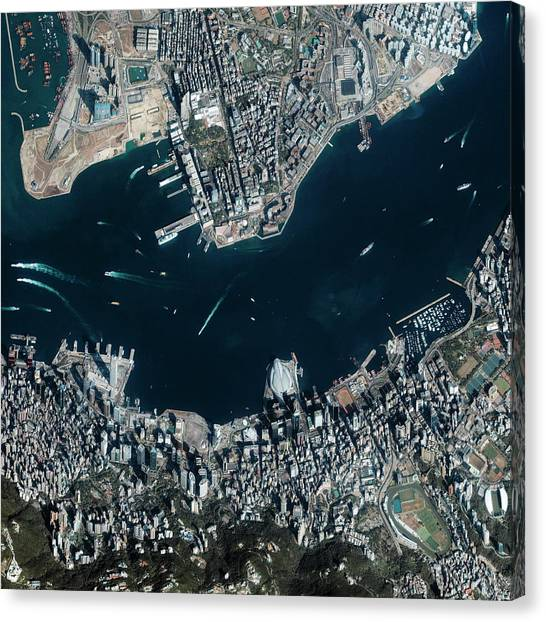 China Town Canvas Print - Hong Kong Harbour by Geoeye/science Photo Library