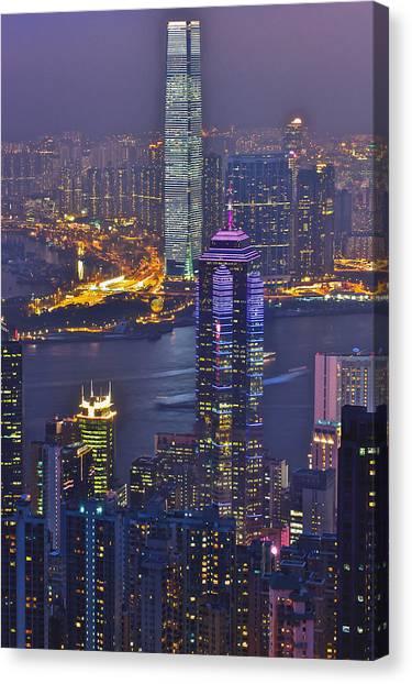Hong Kong Night View At Victoria Peak Canvas Print by Hisao Mogi