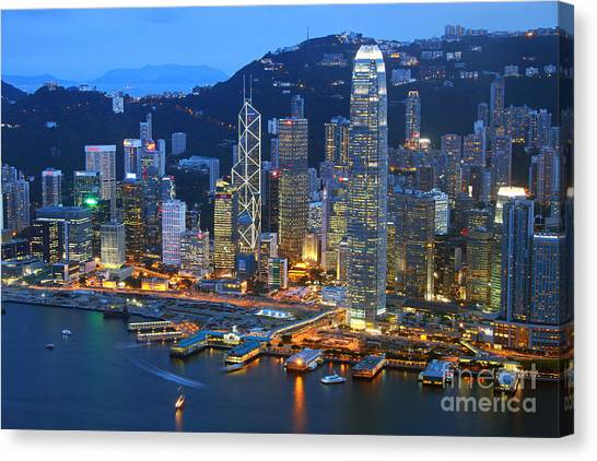 Hong Kong Canvas Print - Hong Kong Skyline At Night by Lars Ruecker