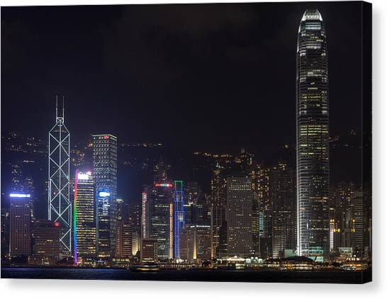 Hong Kong Skyline Canvas Print by Wolfgang Woerndl