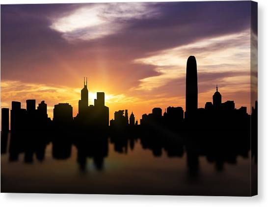 Hong Kong Canvas Print - Hong Kong Sunset Skyline  by Aged Pixel