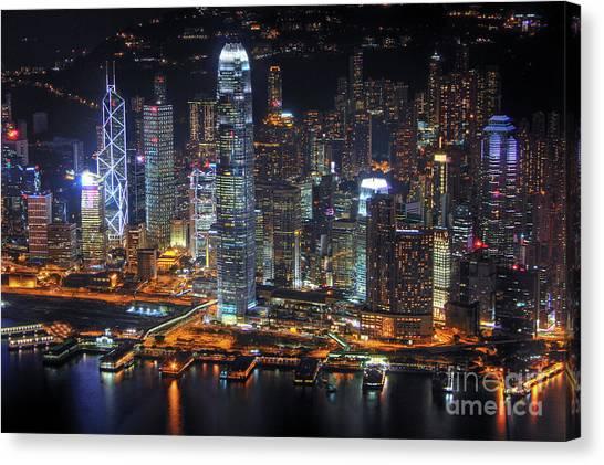 Hongkong Canvas Print - Hong Kong's Skyline At Night by Lars Ruecker