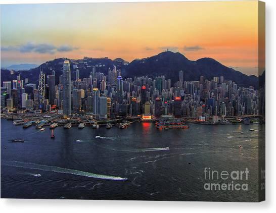 Hongkong Canvas Print - Hong Kong's Skyline During A Beautiful Sunset by Lars Ruecker