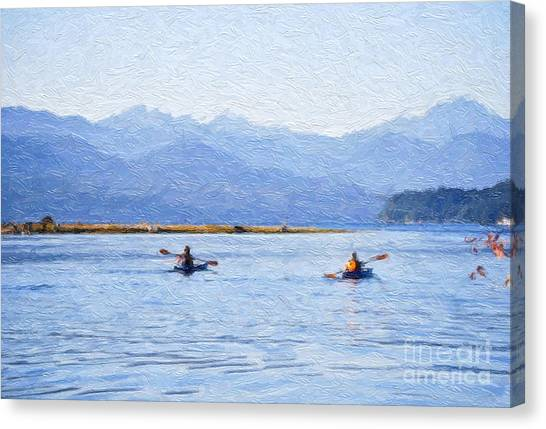 Canvas Print featuring the photograph Hood Canal Kayaks by Susan Parish