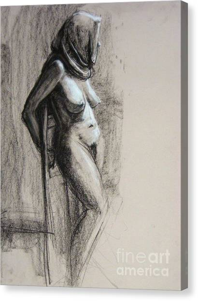 Canvas Print featuring the drawing Hood by Gabrielle Wilson-Sealy