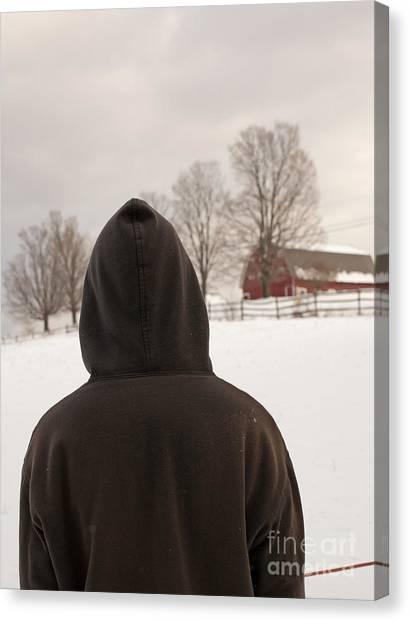 Teenager Canvas Print - Hooded Boy At Farm In Winter by Edward Fielding