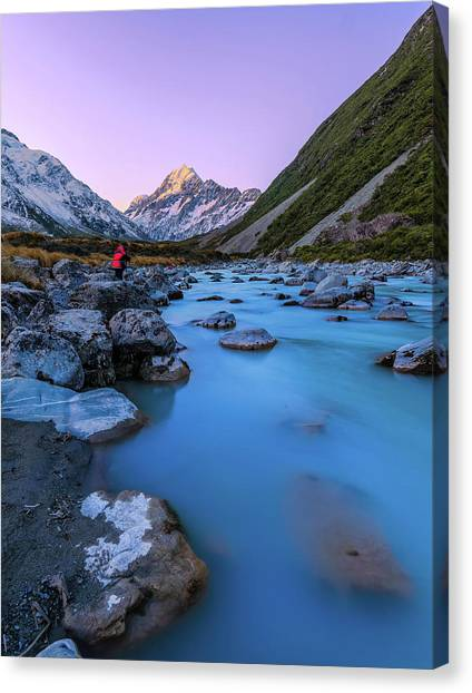 Hooker River, Mount Cook National Park Canvas Print by By Arief Rasa