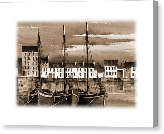 Galway Hooker Canvas Print - Hookers In The Cladagh Harbour by Val Byrne