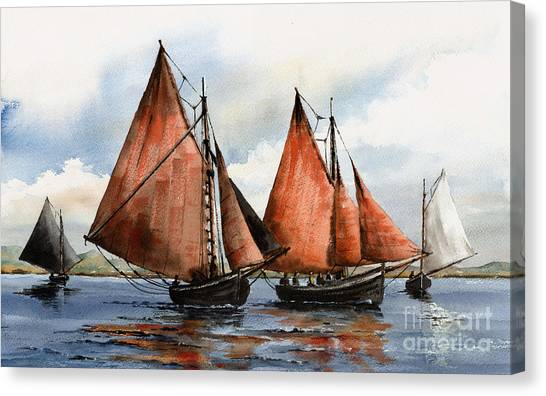 Galway Hooker Canvas Print - Hookers On Galway Bay by Val Byrne