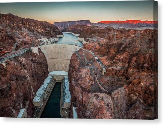Hoover Dam At Dusk Elevated View Canvas Print by Bob Stefko