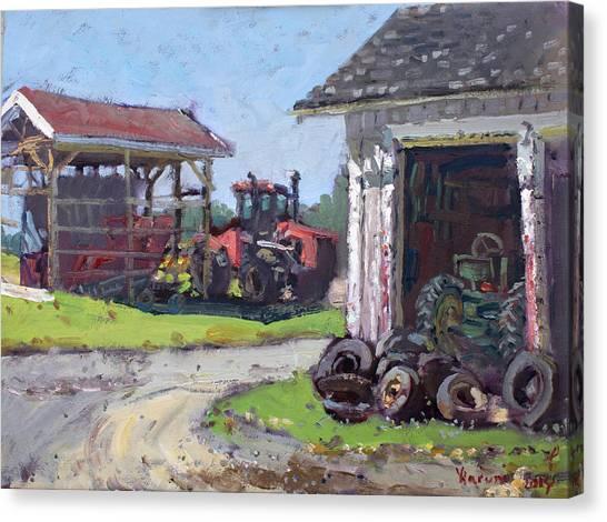 Tractor Canvas Print - Hoover Farm In Sanborn by Ylli Haruni