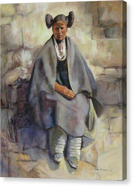 Hopi Girl Seated Canvas Print