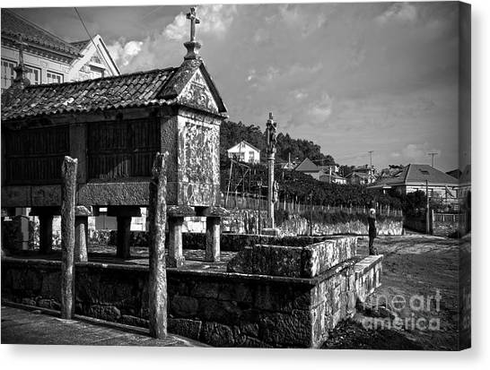 Horreo And Cruceiro In Galicia Bw Canvas Print