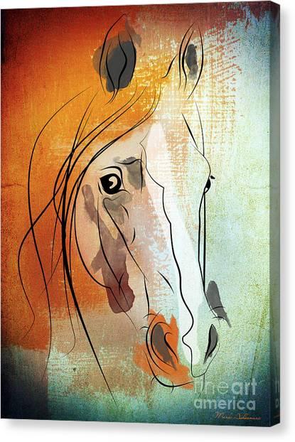 Race Horses Canvas Print - Horse 3 by Mark Ashkenazi
