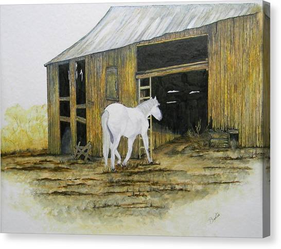 Horse And Barn Canvas Print