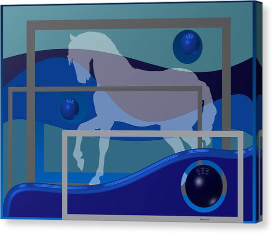 Horse And Blue Balls Canvas Print