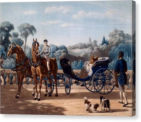 Horse And Carriage Canvas Print - Horse And Carriage, First Half C19th by Henri d'Ainecy, Comte de Montpezat