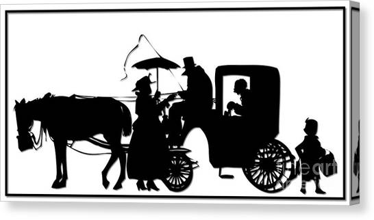 Canvas Print featuring the digital art Horse And Carriage Silhouette by Rose Santuci-Sofranko