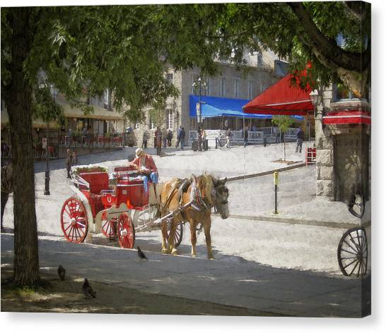 Horse And Carriage Street Scene Montreal Canvas Print by Ann Powell