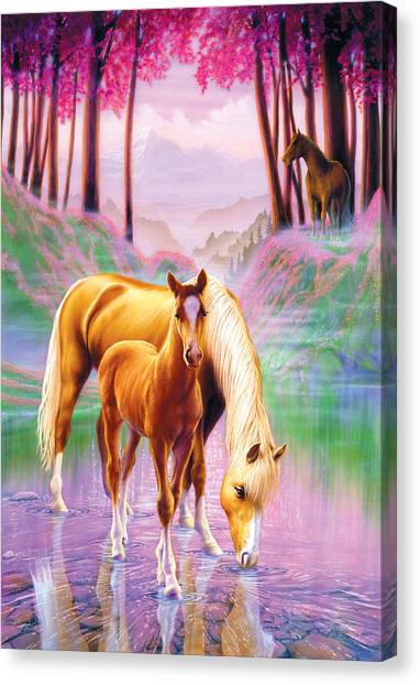 Dreamy Horse Canvas Print - Horse And Foal by Andrew Farley