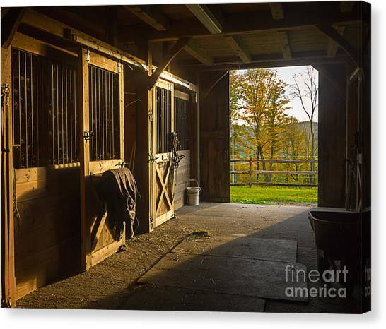 Bob Ross Canvas Print - Horse Barn Sunset by Edward Fielding