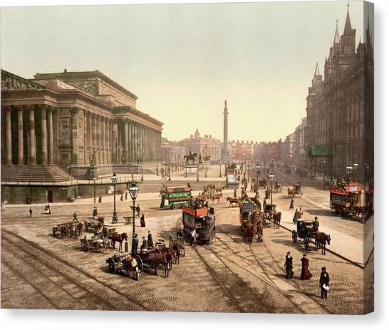 Aac Canvas Print - Horse-drawn Trams by Library Of Congress/science Photo Library