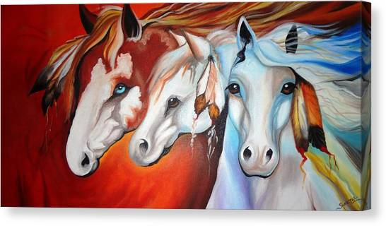 Horse Farms Canvas Print - Horse Family - Good Luck by Sheetal Bhonsle