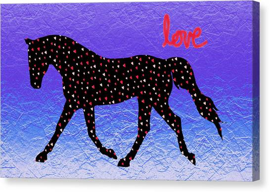 Horse Hearts And Love Canvas Print