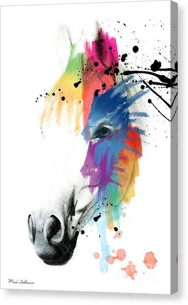 Digital Watercolor Canvas Print - Horse On Abstract   by Mark Ashkenazi