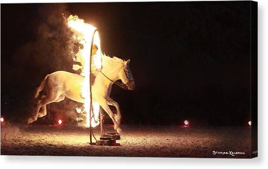 Canvas Print featuring the photograph Horse On Fire by Stwayne Keubrick