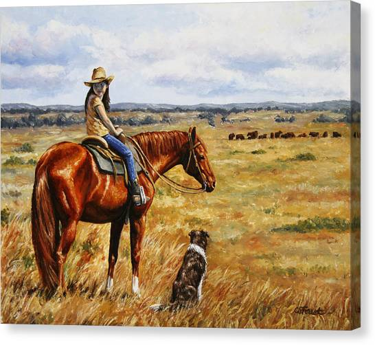 Horse Ranch Canvas Print - Horse Painting - Waiting For Dad by Crista Forest