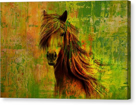 Polo Canvas Print - Horse Paintings 001 by Catf